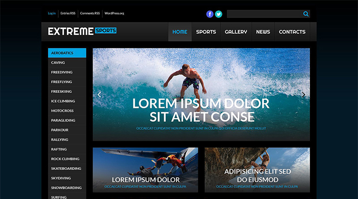 Extreme Sport WordPress Theme