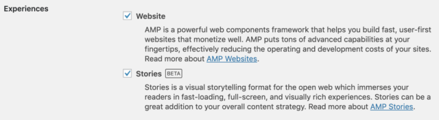 A screenshot of the two AMP experiences