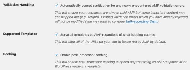 Screenshot displaying other AMP options