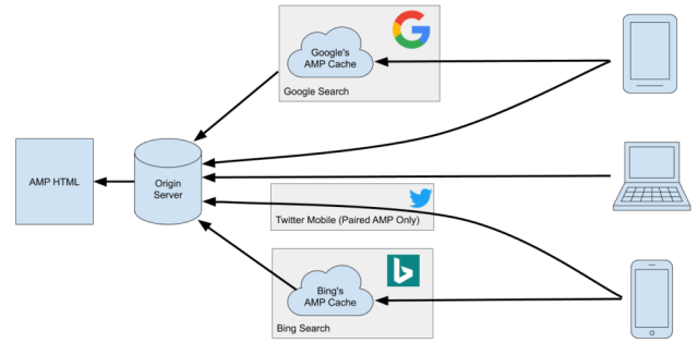 A simplified diagram showing how AMP works