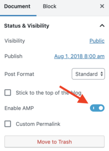 Screenshot displaying the AMP toggle switch