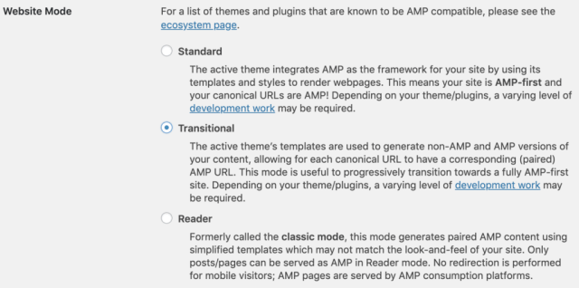 Screenshot displaying the three different website modes