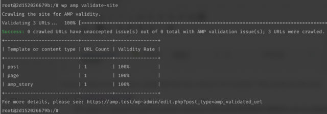 Screenshot displaying the results of a WP-CLI validation scan