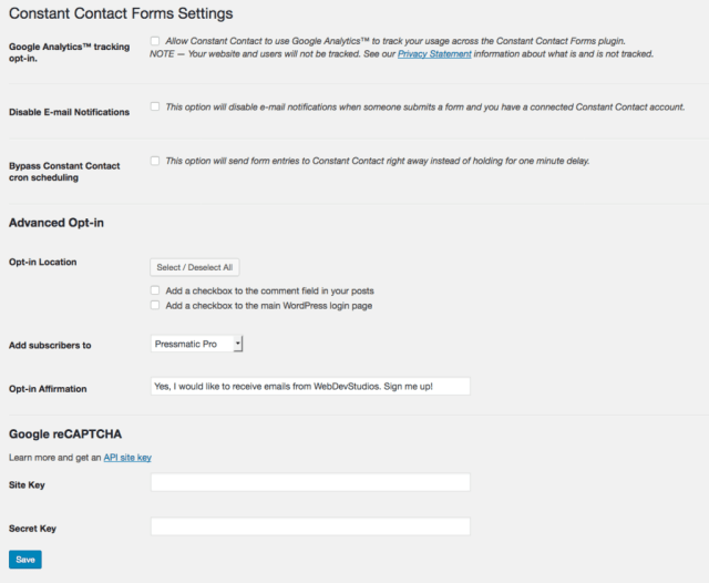This is a screenshot of Constant Contact Form Settings, including Google Analytics tracking, disabling email notifications, bypassing Constant Contact cron scheduling, and advanced opt-in settings, such as opting in for locations, adding subscribers, opting in affirmation, and enabling Google reCAPTCHA.