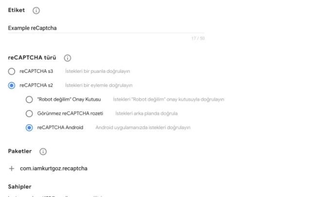 Android reCAPCHA kullanımı