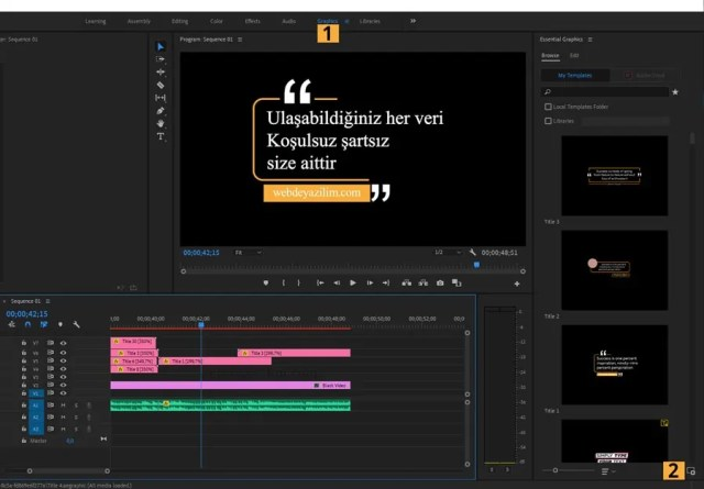 Premiere Pro Hareketli Yazı Ekleme