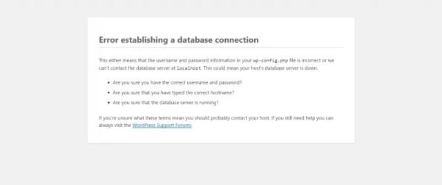 Wordpress Error Establishing A Database Connection Hatası ve Çözümü