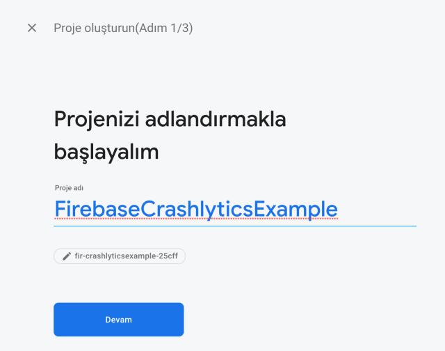 Firebase Crashlytics Kurulumu