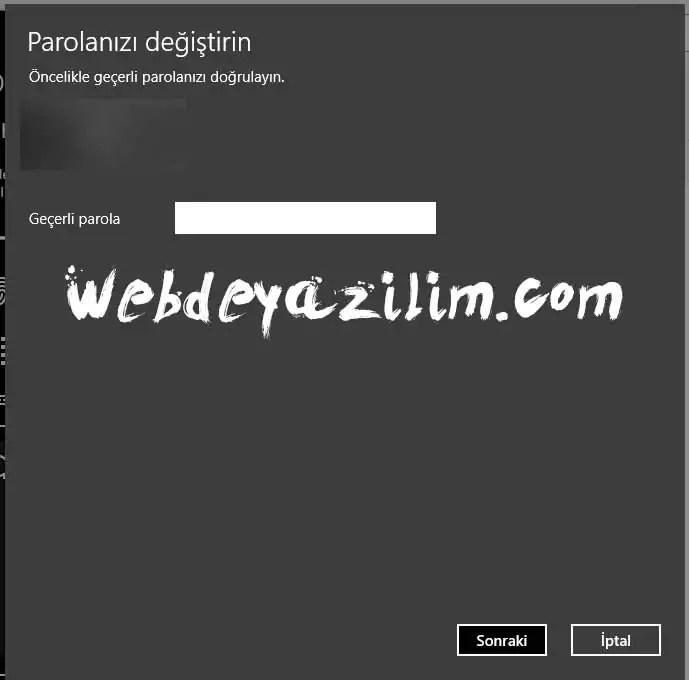 windows şifre değiştirme