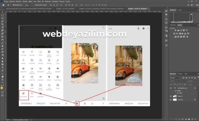 photoshop ile birleştirilen üç görsel