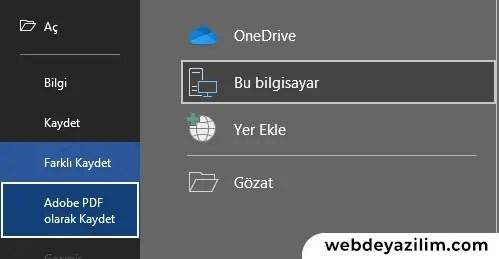 Microsoft Office Belgesini PDF Olarak Kaydetme