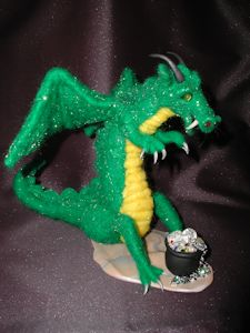 """Dragon admires Jewels"" needle felted wool and angelina"
