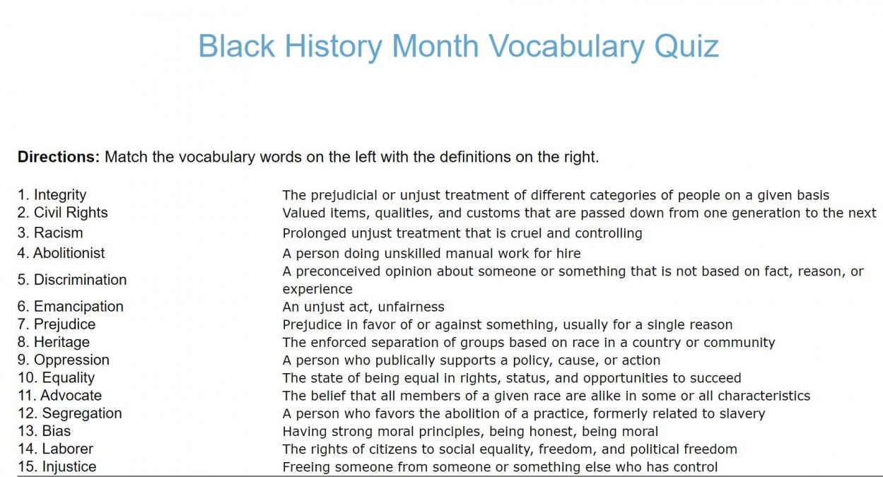 hight resolution of Black History Month Quiz Printable - The Best Picture History