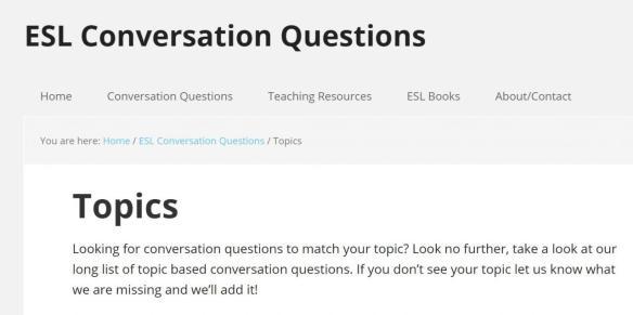 , ESL Conversation Questions, WebEnglish.se
