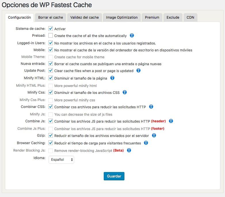 wp-fastest-cache-configuracion