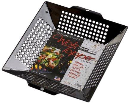 Oscarware 12WOKWC-B Gourmet Porcelain Wok Grill Topper, 12-Inch