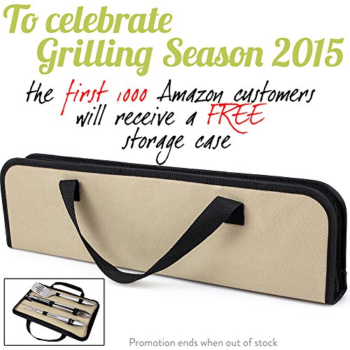 #1-PROFESSIONAL-BRAND StyliChef® Stainless Steel 3-Piece Barbecue Tool Set, with Storage Case