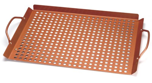 Outset QN71 Copper Nonstick Large 17″ x 11″ Grill Grid with Handles