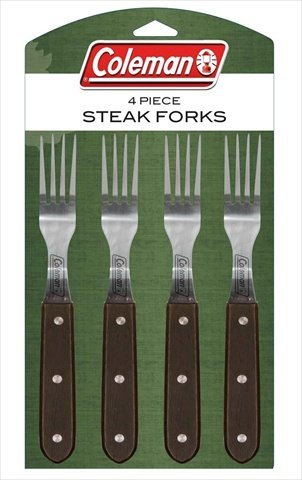 Coleman C04F240 4-Piece Steak Fork Set with Darkwood Handles