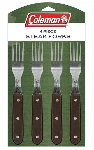 Coleman C04F240 4-Piece Steak Fork Set with Darkwood Handles
