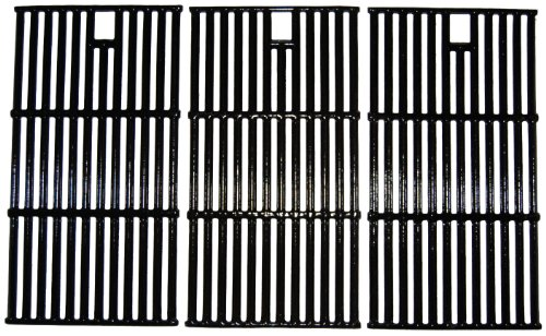 Music City Metals 65223 Gloss Cast Iron Cooking Grid Replacement for Select Gas Grill Models by Brinkmann, Charmglow and Others, Set of 3