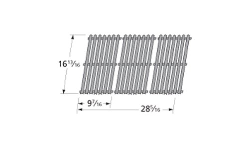 Music City Metals 50193 Porcelain Steel Channel Cooking Grid Replacement for Gas Grill Model Charbroil 463440109, Set of 3