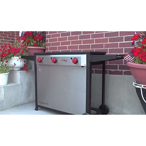 Camp Chef Somerset CCH3 3 Burner BBQ Cart, Catering, Outdoor Kitchen, Backyard Grill Fits 16″ Accessories (Orange Flame)