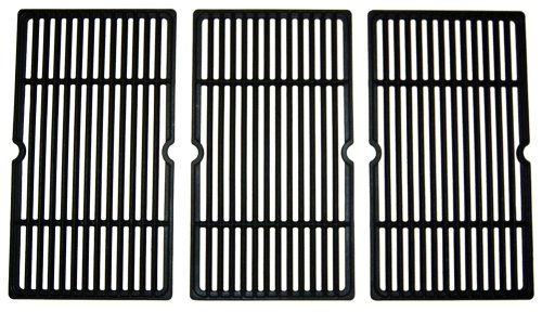 Music City Metals 65993 Gloss Cast Iron Cooking Grid Replacement for Select Gas Grill Models by Charbroil, Kenmore and Others, Set of 3