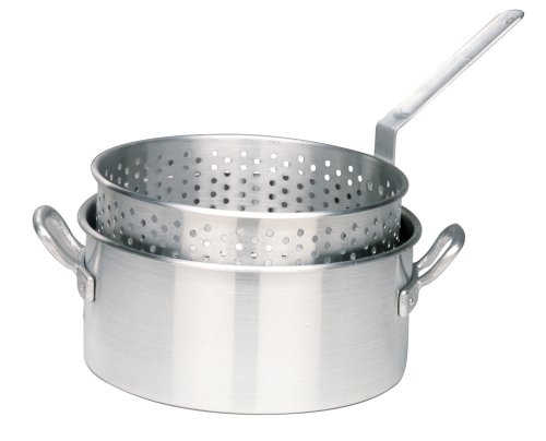 Bayou Classic 1201 10-Qt. Aluminum Fry Pot with Basket – No Lid