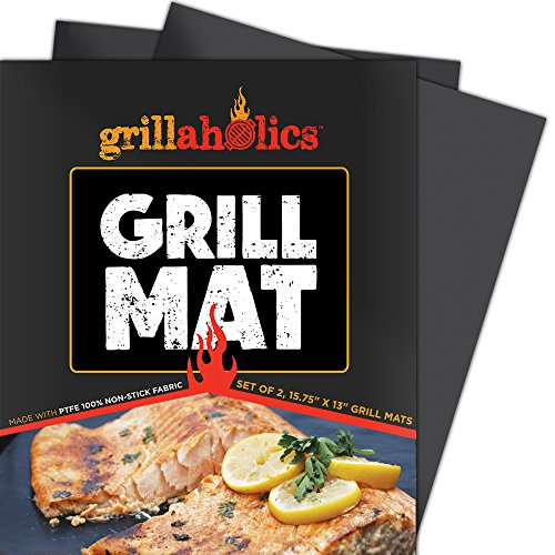 Grill Mat by Grillaholics – Lifetime Guarantee – Set of 2 Mats – Best BBQ Grill Mat in Grill Accessories – FREE Bonus – Reusable and Dishwasher Safe – Heavy Duty Nonstick Grilling Surface for Gas, Charcoal, and Electric Grills – Great Alternative to a Grill Pan – Doubles as a Baking Mat