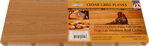 Woodway 853.1112 2-Pack 5.25 by 15.5-Inch Cedar Grill Plank, Large