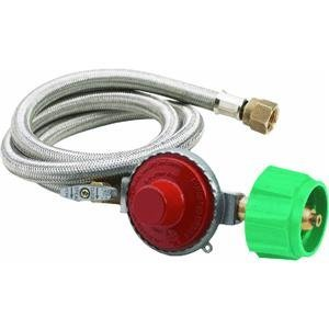 Bayou Classic 48 Inch High Pressure Stainless Braided Propane Hose And 20 Psi Preset Regulator