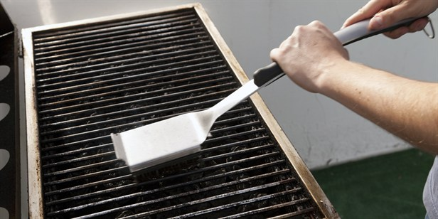 Grill cleaning with brush