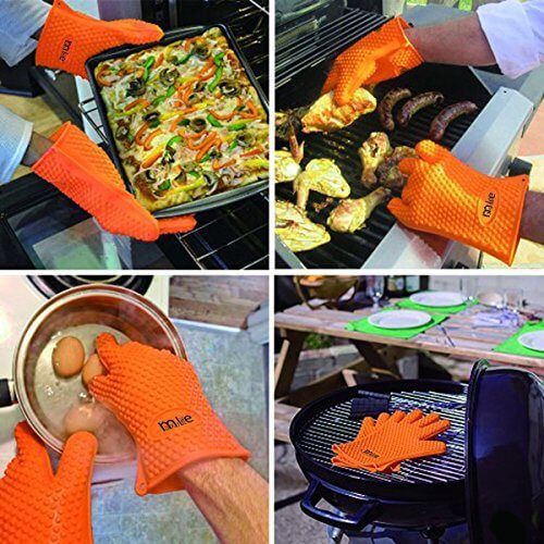 MaxyLife Supreme Silicone Heat-resistant BBQ Grill Oven Gloves for Barbecue, Oven, Grill, Baking, Smoking and Cooking (1 Pair Orange)