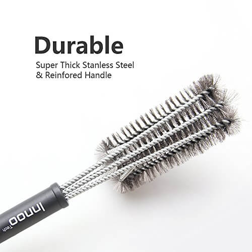BBQ Grill Brush 18″ Barbecue Cleaner Tools, 360° Grill Cleaning with 3 Stainless Steel Bristles in 1, for Char-broil, Weber ,Porcelain, Charcoal and Infrared Grills, Free Handy Bag and Basting Brush