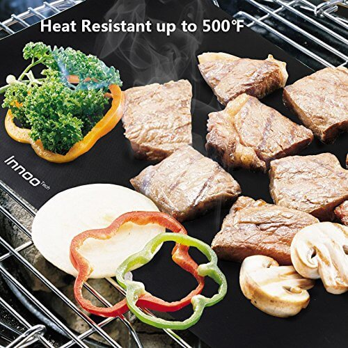 BBQ Grill Mats Up to 400% Thicker Than Others Set of 3, 16″ x 13″ Works on Gas, Charcoal, Electric Grill and more, 100% Non-stick, Lifetime Guaranteed