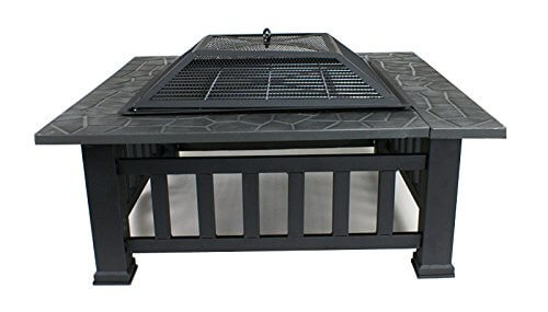Zeny® Fire Pit 32″ Outdoor Square Metal Firepit Backyard Patio Garden Stove Fire Pit W/cover, Black (#01)