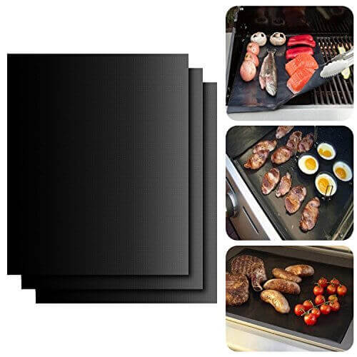 BBQ Grill Mat, ISUDA Set of 3 16″ X 13″ Fiberglass Fabric Nonstick Reusable Grilling Accessories -Works on Gas, Charcoal, Ovens, Electric Grill and More