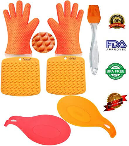 Oven BBQ Gloves / Mitts Silicone Heat Resistant for Barbecue Grilling Baking Smoking & Cooking from AdroitOne With 5 Free BONUS Items – 2 Spoon Rests, 2 Pot Holders/Trivets, 1 Basting/Pastry Brush.