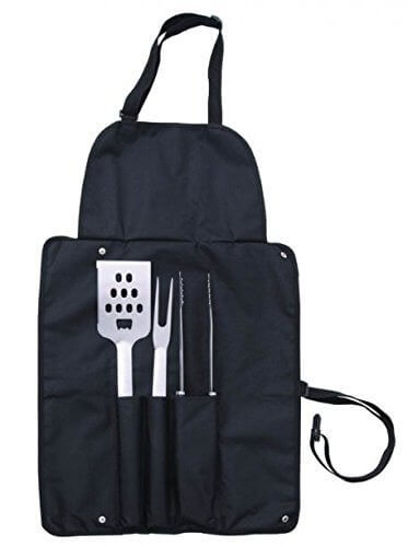 Grill Master BBQ Set with full-sized apron a deluxe barbecue set stored inside, including three stainless steel barbecue tools (a large spatula with integrated bottle opener, a large fork, and tongs).