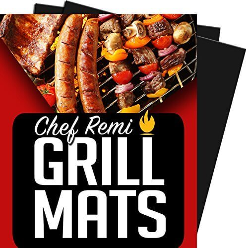 Chef Remi Grill Mat – Lifetime Guarantee – Set Of 2 Heavy Duty, Non-Stick Grilling Mats – 16 x 13 Inch – Use on Gas, Charcoal, Electric BBQ Grills – Made With USA Raw Materials – Rated #1 New Release