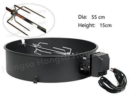 Hongso CGR001 Charcoal Kettle Rotisserie Kit 2290 for Select 22-1/2 Inch Charcoal Grill Models by Weber, Char Broil, Masterbuilt, Napoleon, Kingsford etc.