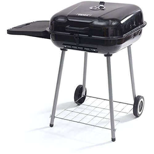 22 Inch Backyard Charcoal Square Barbecue Grill Ourdoor Cooking with Accessory Storage