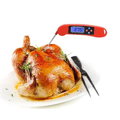RGBegg Talking Cooking Thermometer, Instant Read, LED Backlight, Voice Broadcast, Foldable Probe, Include 2 pcs AAA batteries