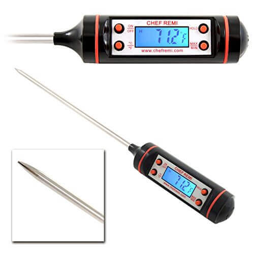 Chef Remi Cooking Thermometer Now With Backlight – Instant Read – Best Digital Thermometer for Grill, BBQ, Smoker, Kitchen, Meat, Turkey, Candy and All Food. LCD Screen – Lifetime Guarantee