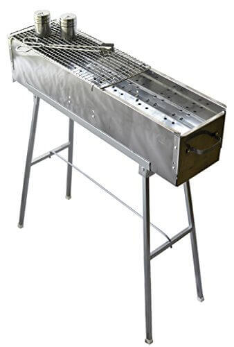 Party Griller 32u2033 Stainless Steel Charcoal Grill U2013 Portable BBQ Grill,  Yakitori Grill,