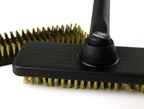 Yukon Glory 40063 BBQ Grill Brush with High-Quality Long-Lasting Thick Brass Bristles; 18-Inch-Long Handle with Sturdy Grip for Easy Grill Cleaning – Bonus Replacement Brush Head Included