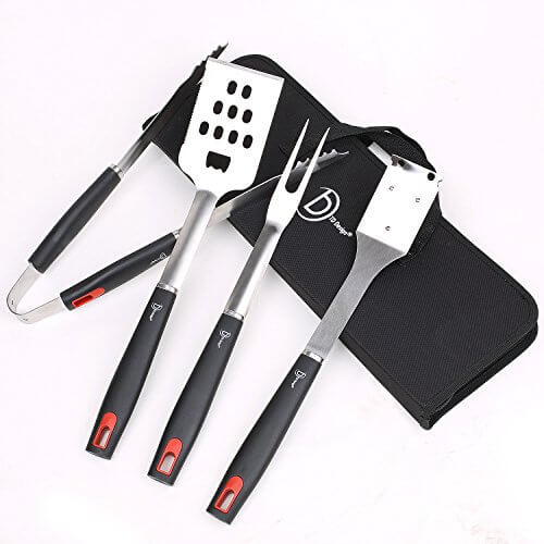 TD Design 4-Piece BBQ Grill Tools Set Heavy Duty Stainless Steel Barbecue Tool Set Utensils Grilling Accessories – Spatula, Tongs, Fork, and Cleaning Brush