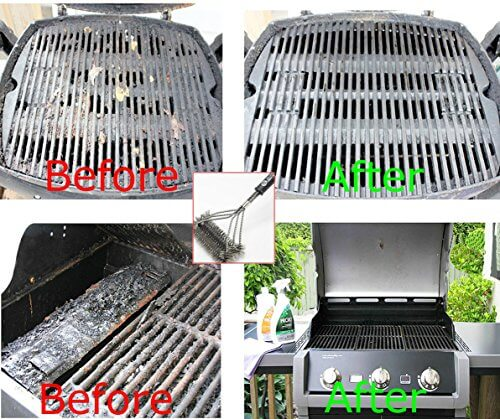 BBQ Grill Brush By TD OFFER 2016 Design Best Grill Brush Cleaner Tools 17″-3 Stainless Steel Brushes In 1,Perfect BBQ Accessories for Weber Barbecue