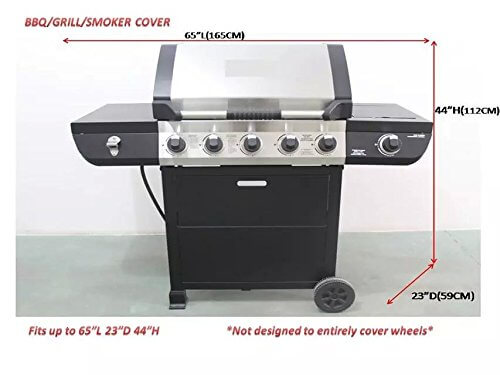 iCOVER 60-65 Inch Heavy Duty water proof patio outdoor black BBQ Barbecue Smoker/Grill Cover G11603 for weber char-broil Brinkmann Nexgrill
